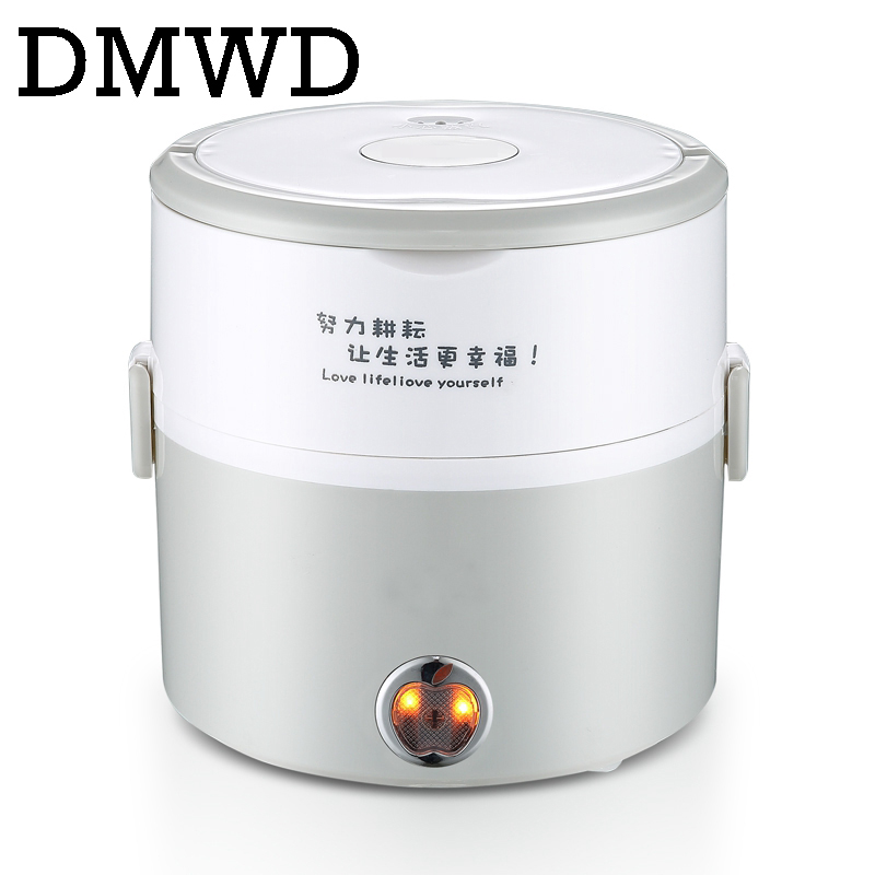 DMWD MINI Electric insulation heating lunch box stainless steel cooking steamer two 2 layers hot rice cooker food container 1.2L 3 layers stainless steel mini rice cooker multifunctional insulation plug in electric heating cooking lunch box
