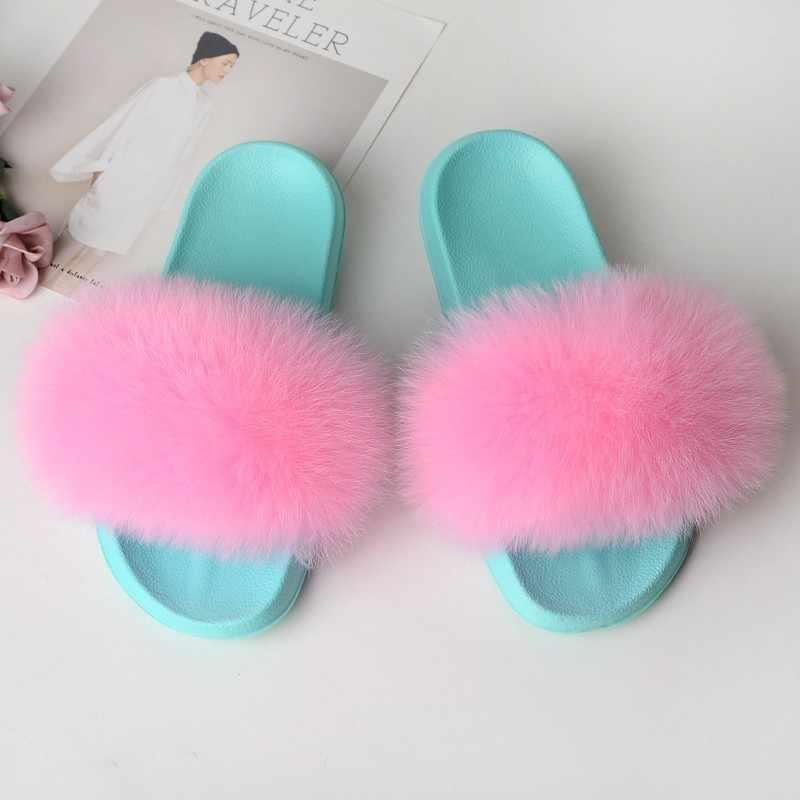 Tilki terlik kürk ayakkabı kadın kürklü slaytlar ev gerçek kürk sandalet bayanlar sevimli yaz bayan parmak arası terlik kabarık peluş yeşil 2019