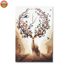 Deer right and money wealth Hand painting decorative diy Animals Painted By Numbers Modern Wall Art Canvas