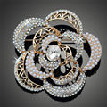 Handmade Surpreendente Brilhante CZ Diamante Banhado A Ouro Broches Trendy Mulheres Broche Pin Bijuterias X00144