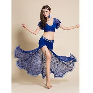 Image 3 - 2 adet Kadın Oryantal dans kostümü Dantel Üst Uzun Etek Seksi Kıyafetler Giyim V Yaka Bellydance Dans Elbise Dansçı Giymek