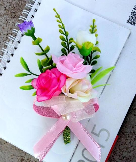 Free Shipping Pink Green Bride Groom Silk Wedding Corsages And Boutonnieres Flowers Party Prom