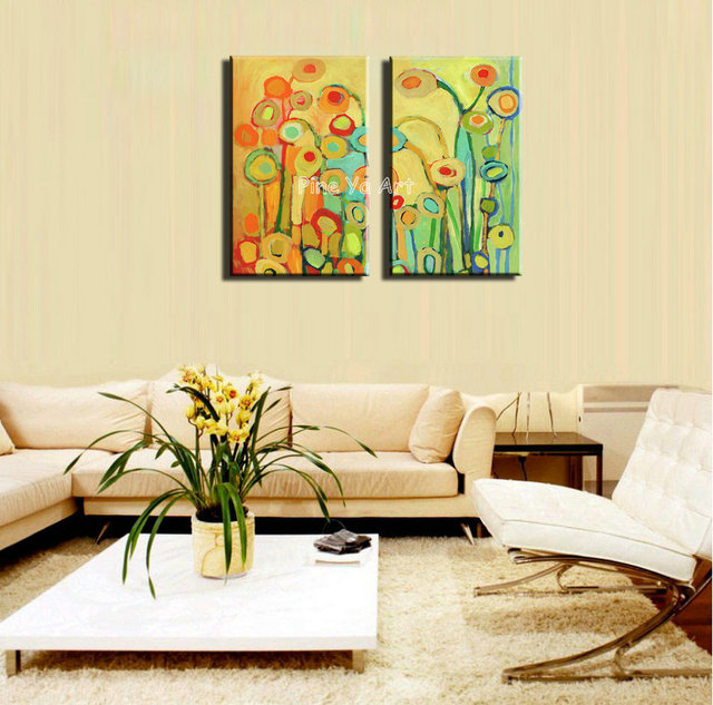 Beautiful Muti panel hand painted abstract colorful canvas wall ...