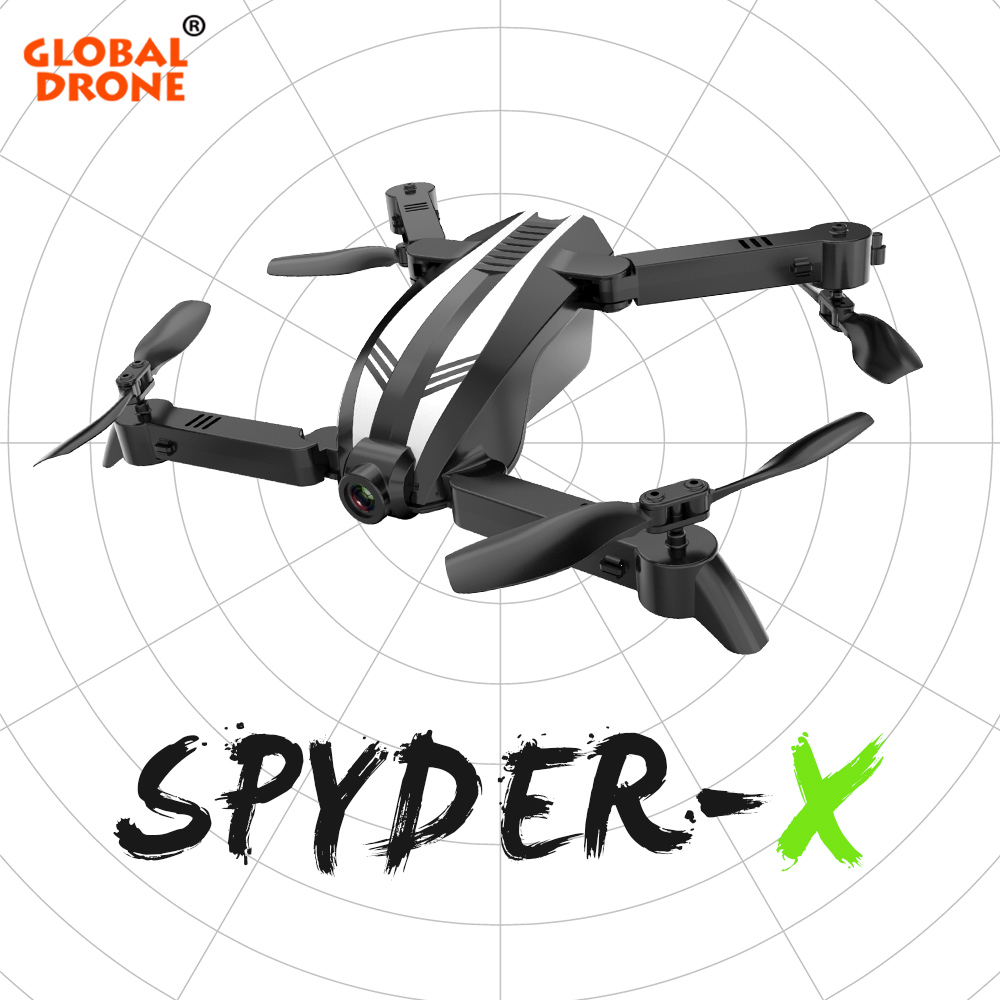Global Drone SPYDER X Mini Drones with Camera HD Wide Angle RC Helicopter Foldable Quadcopter WIFI