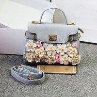 2017 Gold Hardware Elegant Ladies Real Platinum Handbags High Quality Women Shoulder Crossbody Bags Handmade flowers pearl