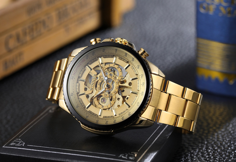 New Hot Winner 0352 Mens Watches Military Sport Clock Male Top Brand Luxury Skeleton Clocks Automatic Mechanical Steel Men Watch