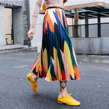 HLHPYHB Summer Rainbow Pleated Skirt Woman's Colorful Elascity High Waisted Flare Skirt Lady Gradient Mid Calf A-Line Skirt stylish women s high waisted buttons embellished flare skirt