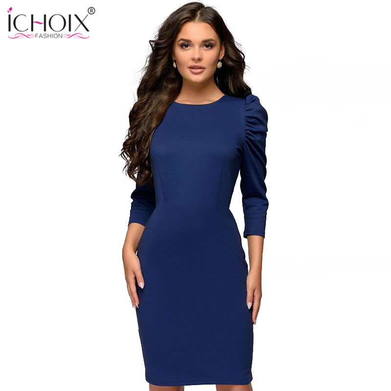 ICHOIX autumn puff sleeve red bodycon dress 2019 work slim office dress knee length tunic dress party fall sheath women dresses