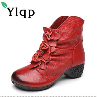 Ylqp Genuine Leather Ankle Boots For Women Folk Style Velvet Flowers Handmade Warm Boots Mother Soft