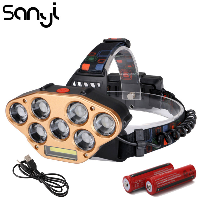 SANYI  COB LED Headlight 2*18650 Battery Flashlight Forehead Head Torch 5 Modes Lighting USB Rechargeable Camping Hunting Lamp