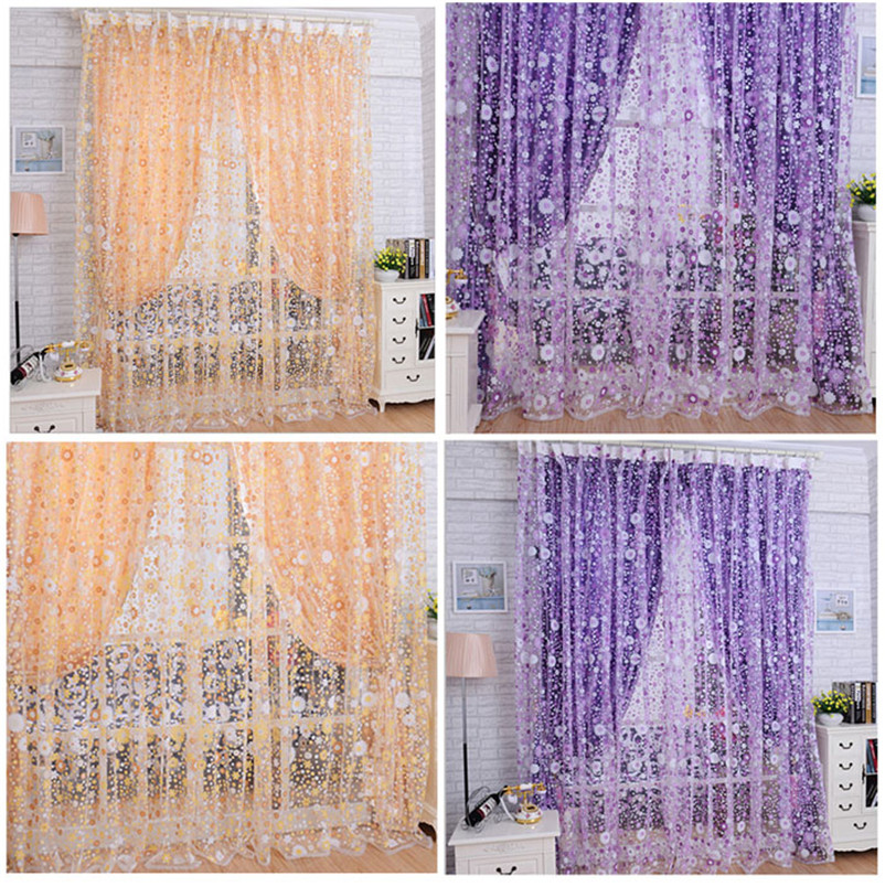 2016 Orange And Purple Print Floral Voile Door Sheer Window Curtains Room  Curtain Divider 100X200CM Drop