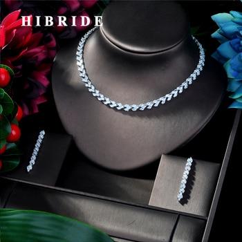 HIBRIDE Fashion AAA Red Cubic Zircon Wedding Bridal Jewelry Sets ,Earrings Necklace Bracelet Full Set,Promotion N-219