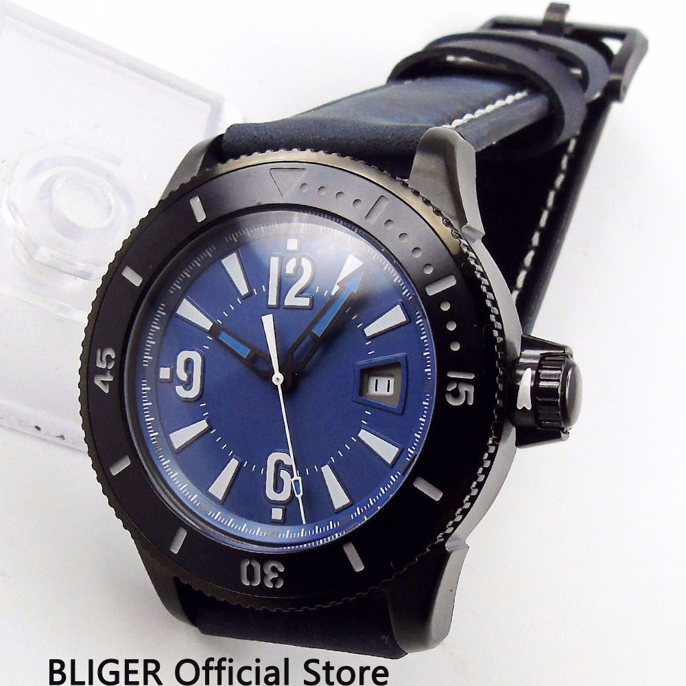 Sport BLIGER 43MM Blue Sterile Dial Mens Watch PVD Coated Watchcase Luminous Marks Date Display Automatic Movement WatchSport BLIGER 43MM Blue Sterile Dial Mens Watch PVD Coated Watchcase Luminous Marks Date Display Automatic Movement Watch