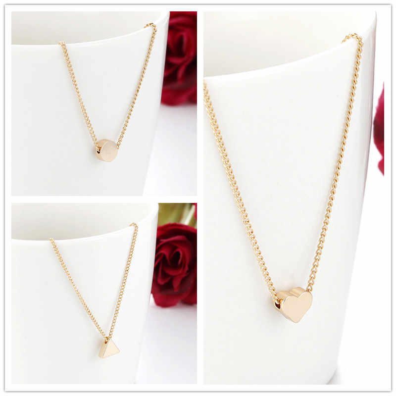 Simple Golden Color Love Heart Pendant Necklace Cute Triangle Necklace For Girl Gift Summer Charm Choker Necklace X271