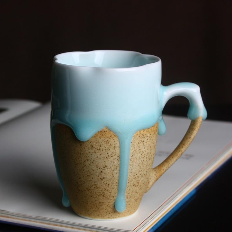 Handmade Creative Ceramic Blue Flow Glaze Mug Round