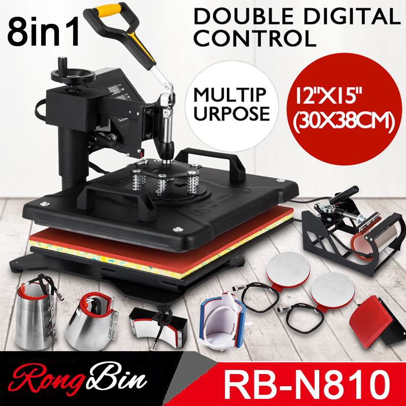 Double Display New 8 in 1 Combo Heat Press Machine Sublimation Heat Press Heat Transfer Machine For Mug Cap T shirt Phone cases new design single display 7 in 1 heat press machine mug cap plate tshirt heat press sublimation machine heat transfer machine