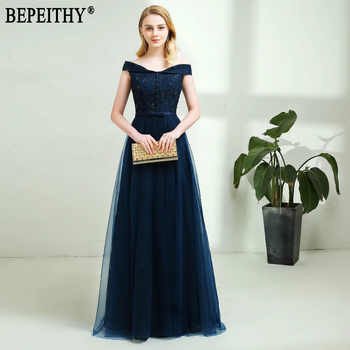 BEPEITHY 2019 New Design vestido de festa Appliques Beads Off-Shoulder Long Navy Blue Evening Dresses New Arrival - DISCOUNT ITEM  36% OFF Weddings & Events