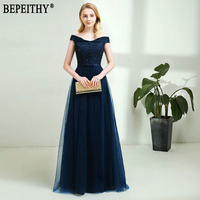 28203df450 BEPEITHY 2019 New Design Vestido De Festa Appliques Beads Off Shoulder Long  Navy Blue Evening Dresses