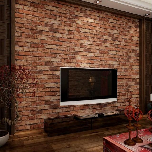 Clical Rustic Stone Brick Wallpaper Roll Relief Background Red Living Room Bedroom