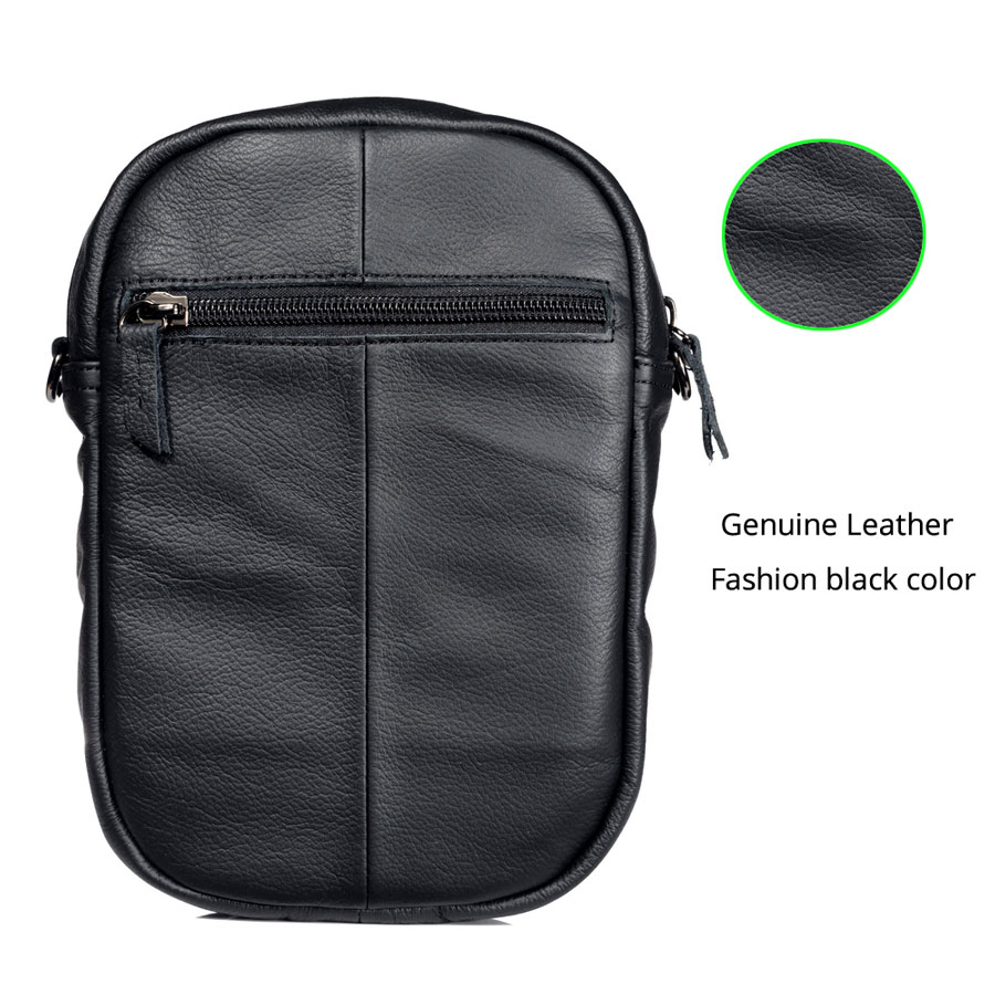 CHEZVOUS Genuine Leather Mobile Phone Bag Case For iPhone Samsung Xiaomi Huawei Bussiness Shoulder Bag Zipper Pouch Universal in Phone Pouches from Cellphones Telecommunications