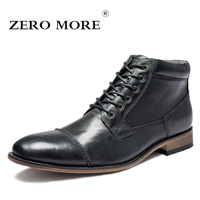 bd6ab65ddb9f1 ZERO MORE Genuine Leather Mens Boots Short Plush Lace Up Zipper Warm Shoes  Men British Winter Ankle Boots Men Pointed Toe Boots