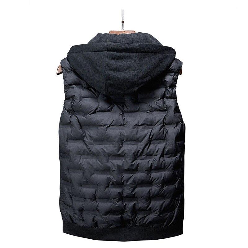 Image 2 - Горячая Распродажа, новый мужской жилет, Осень зима, брендовая  мужская жилетка с капюшоном, модный жилет с хлопковой подкладкой, куртка  и пальто, теплый жилет XXXL 4XLЖилеты и безрукавки