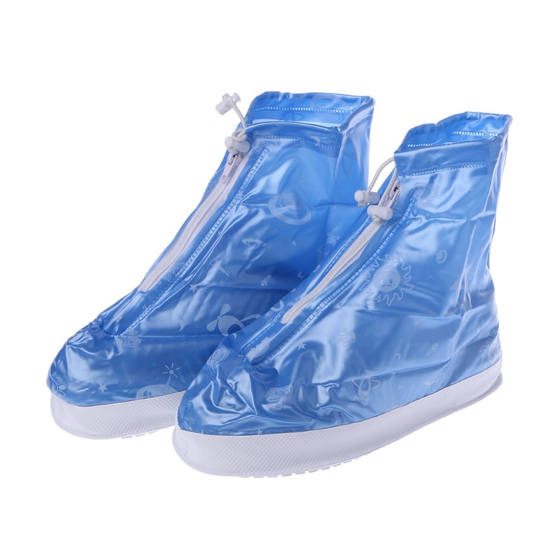 Children Girl Boys Waterproof Raining Boots Shoes Cover Wear Proof Anti Slip Reusable Airplane Print 2017 Blue New Shoes Covers kelme 2016 new children sport running shoes football boots synthetic leather broken nail kids skid wearable shoes breathable 49