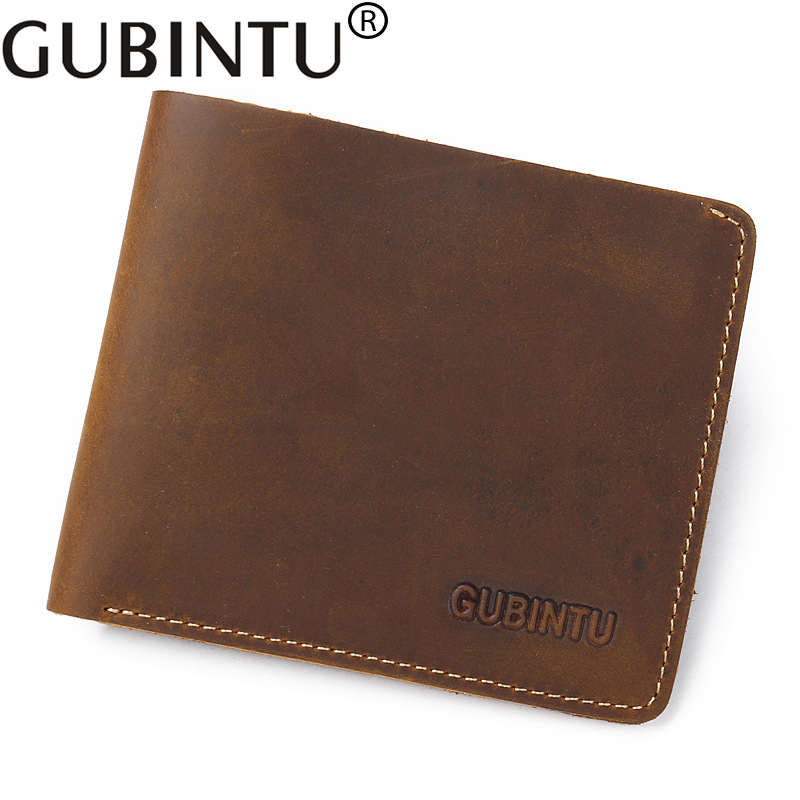 GUBINTU Leather Men Wallets Bifold Brand Short Men Purse Minimalist Male Card Holder Wallet Carteira Masculina-- BID149 PM49 joyir wallet men leather genuine solid men wallets leather vintage card holder money short carteira masculina male gift 2023