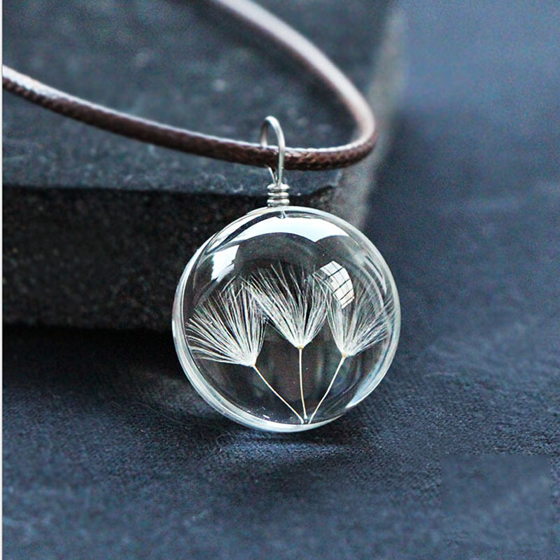 2018 Стекло мяч Одуванчик Подвеска Цепочки и ожерелья ручной работы сушеные цветы Ожерелья и подвески