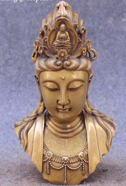 9 Китайский чистая бронза Кван Юн Гуаньинь Гуань Инь богиня Будда Голова Статуя, Бюст