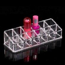 Batom acrílico transparente, caixa de armazenamento de 12 grades para batom e cosméticos, organizador de maquiagem, caixa de exibição de artigos diversos