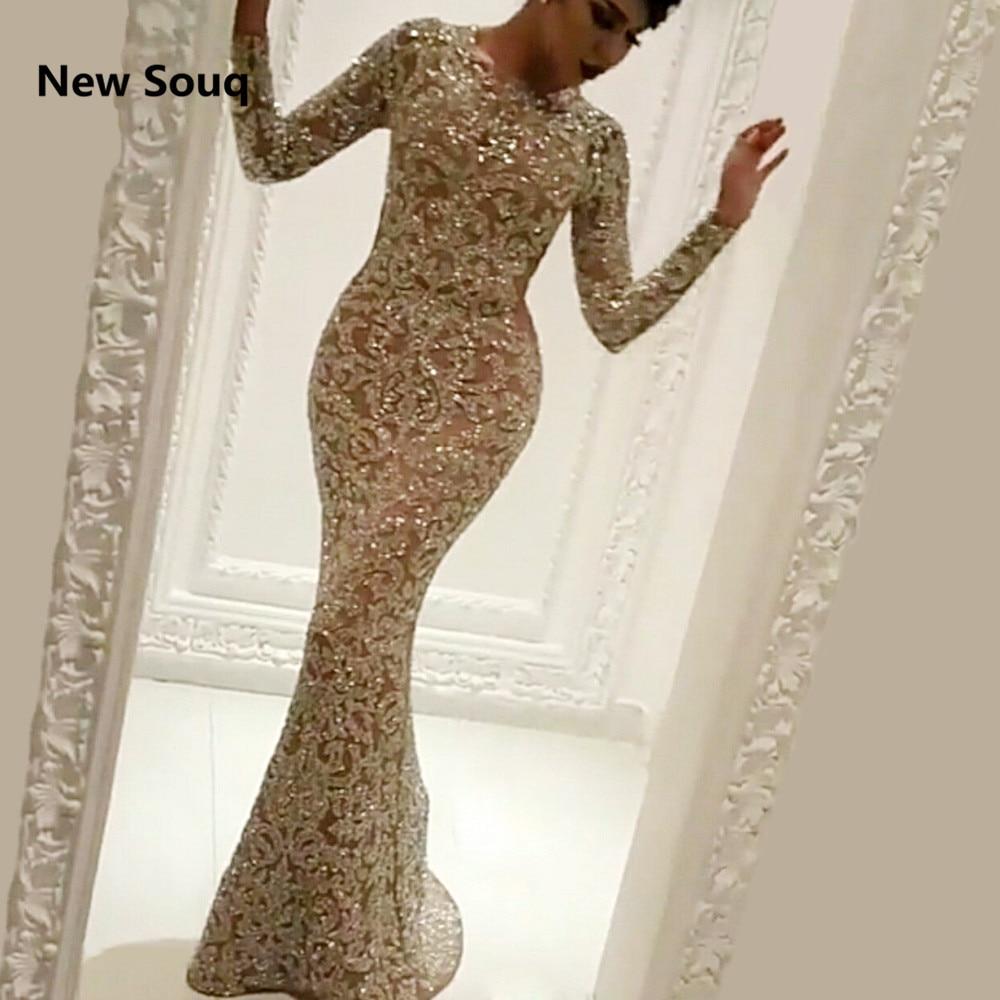 Stunning Sequins Middle East Evening Dresses Mermaid Long Sleeves Saudi Arabic Dubai Evening Gowns 2019 Long Prom Dress