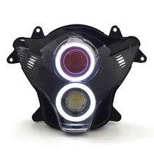 Kt reflektorów dla suzuki gsxr600 gsx-r6002006-2007 montaż led anioł oczu czerwony demon eye motocykl ukrył projektora
