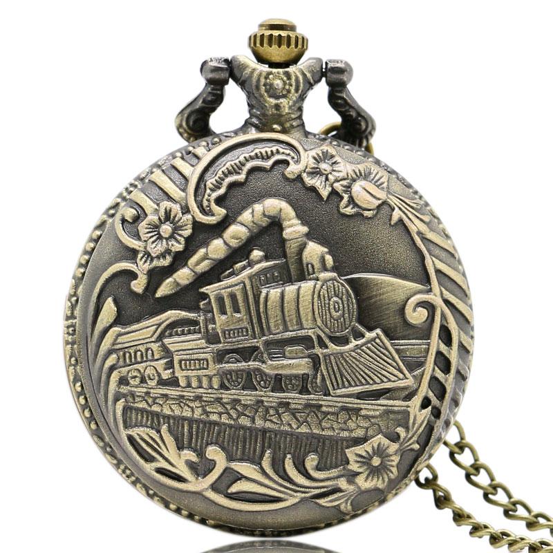 Vintage Bronze Train Front Locomotive Engine Necklace Quartz Pedent Gift  Pocket Watch Chain P07
