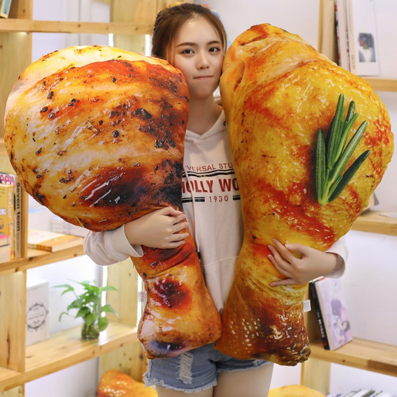 Cute Plush Toy Food Reallife Style Chicken Leg Chick Wing Drumstick Fried Rice Noodles Pillow Cushion Birthday Gift