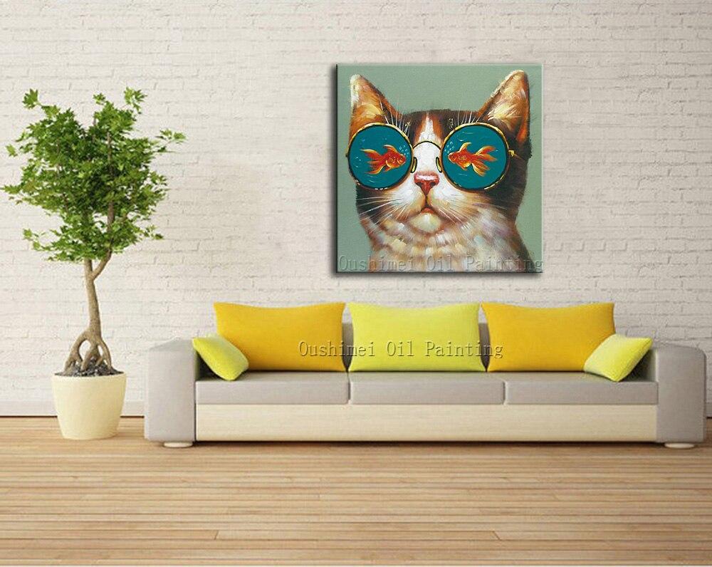 Artista pintado a mano gato animal divertido con Gafas pintura al ...