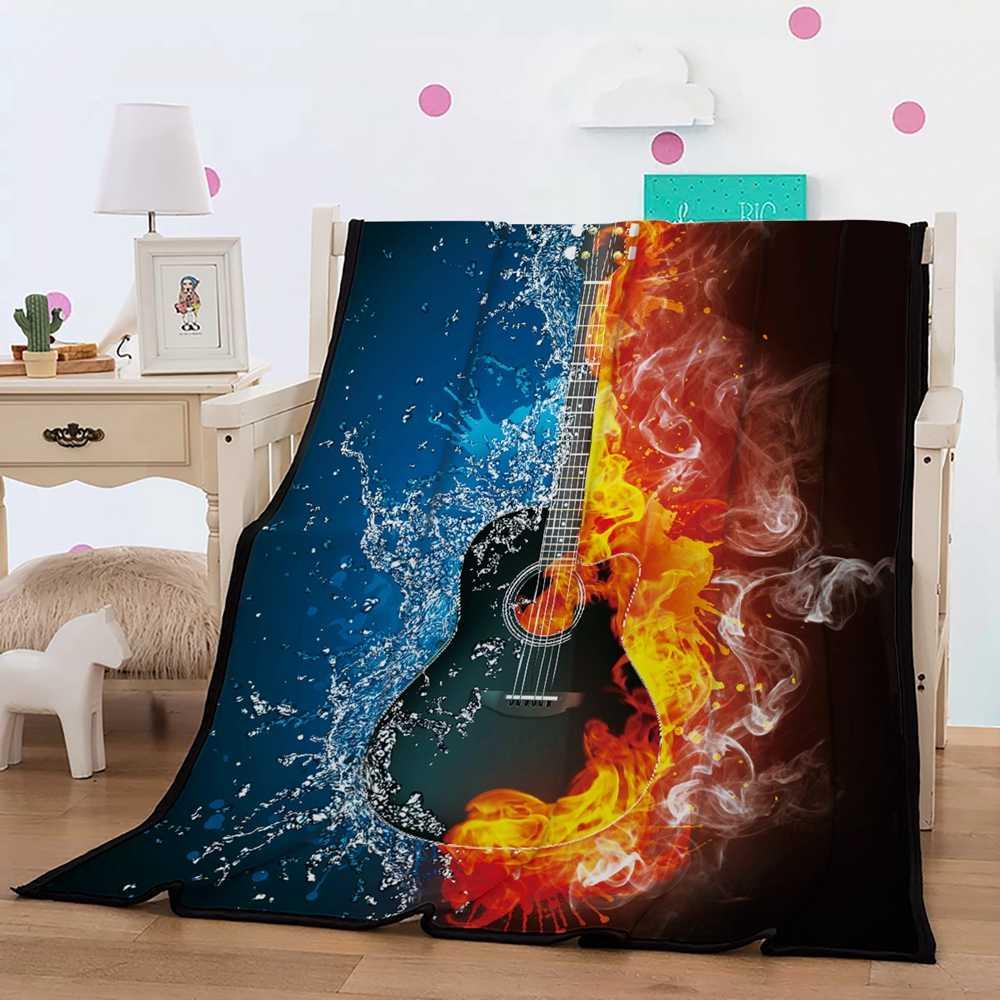Guital Blanket 3D Printed Guitar in Center of Water and Fire Black/Red/Blue Blanket Sherpa Blanket for Girl Boy Adult 150x200cm