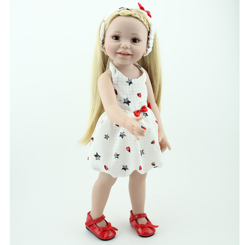 18 Inch American Baby Girl Doll Smiling Baby Princess Wearing Elegant Slim Dress Full Vinyl Baby Toy Free Shipping  18 inch lovely american girl princess doll baby toy doll with fashion designed dress journey girl doll alexander doll