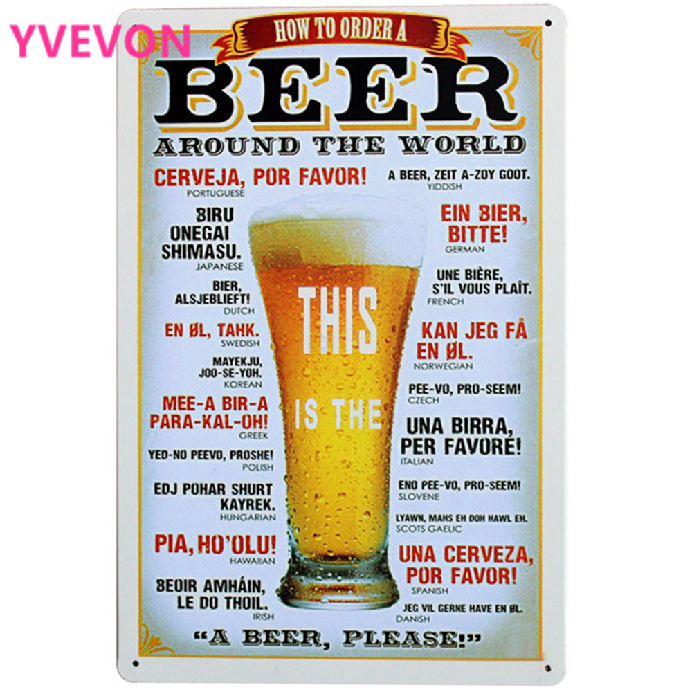 BEER AROUND THE WORLD Metal Tin Sign Vintage Beer Plague Wine Decor Board for pub bar party wall Art decor LJ7-9 20x30cm A1