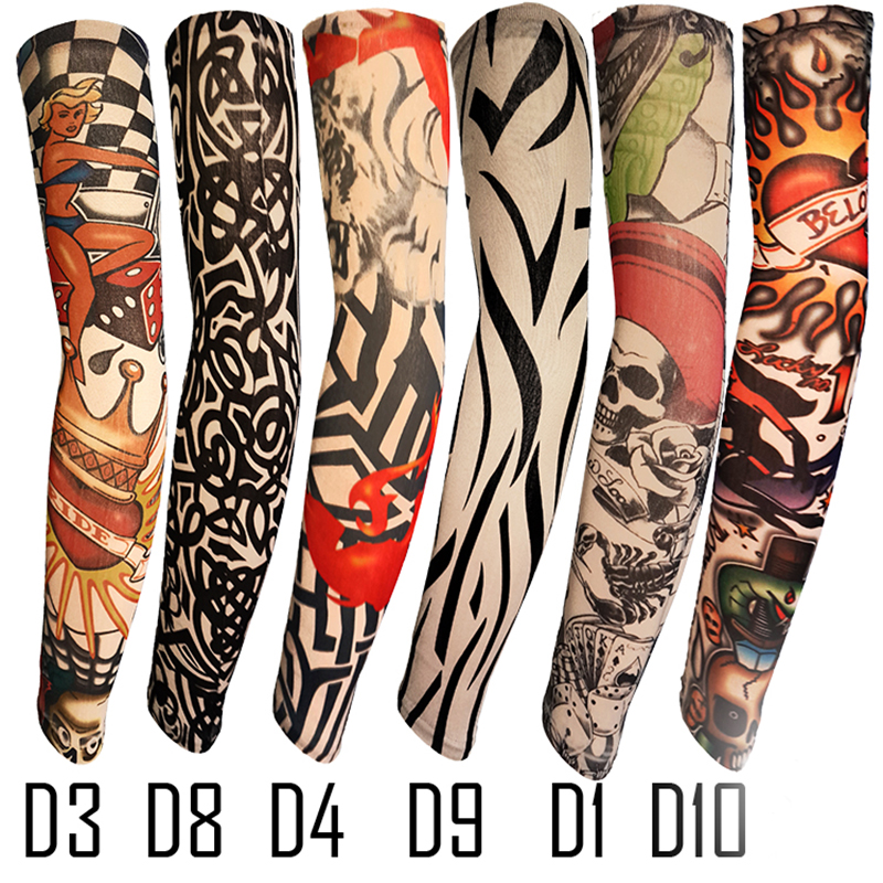 Fake Tattoo Arm Sleeve Straight Unisex UV Protection 1 Piece General Outdoor Temporary