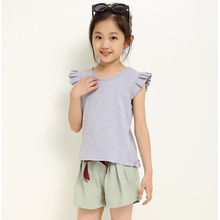 Kid girl summer clothes baby girl solid color Petal short sleeve t-shirt+shorts fashion sports suit kids casual Pants suit 3-7 y gradient color short sleeve mens sports suit