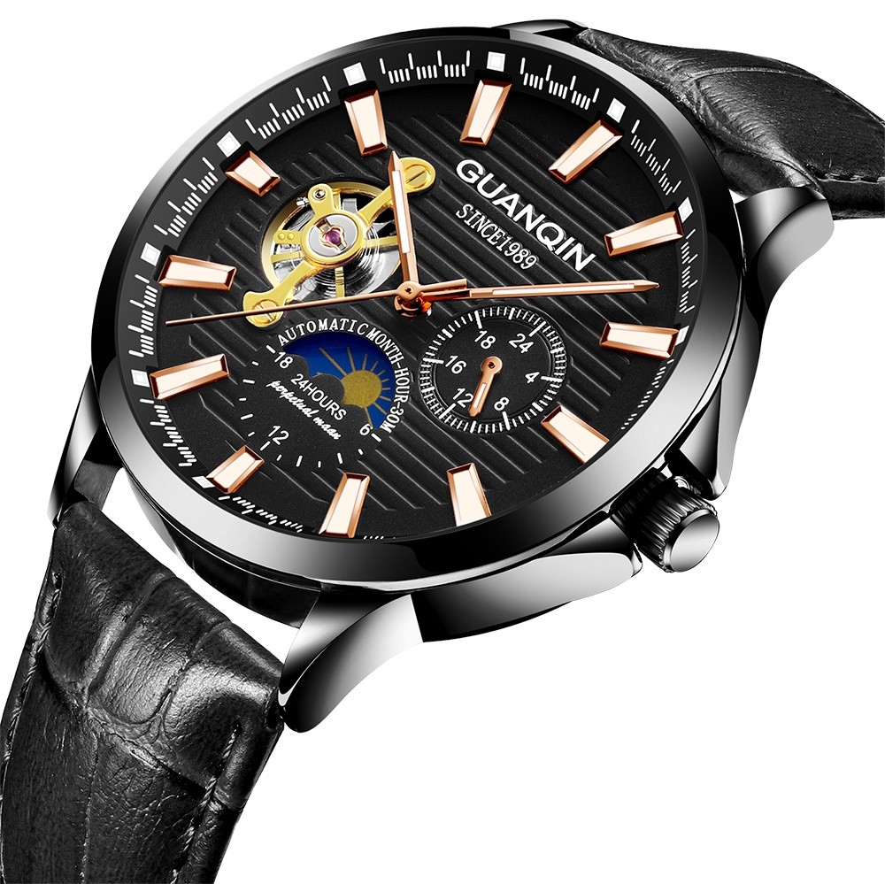HTB1eJI.B3KTBuNkSne1q6yJoXXaP GUANQIN 2019 new watch men waterproof Automatic Luminous men watches top brand luxury skeleton clock men leather erkek kol saati