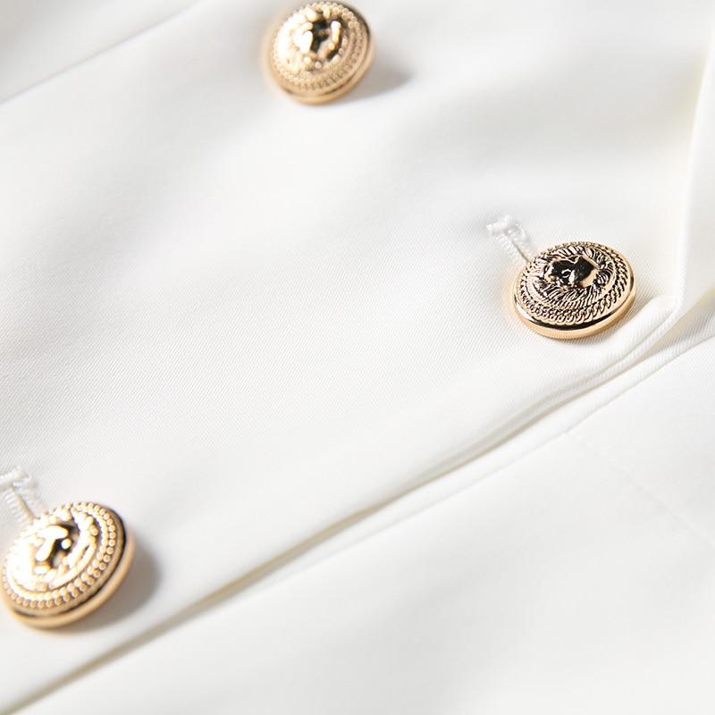 Maniche Di Vestito Della A Signore Petto Soild Alta Pista Elegante Bianco Nero Doppio Ufficio Autunno Progettista Qualità Lunghe Delle 2018 Del Donne xBYgrOBq