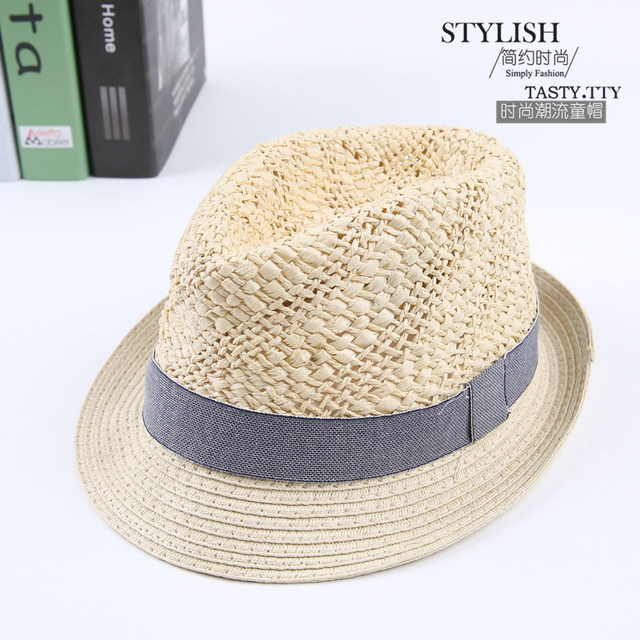93a55d6272a 2016 Wide Brim for Boys Girls Jazz Caps Panama Fedoras Unisex Top Beach  Visor Hat Straw