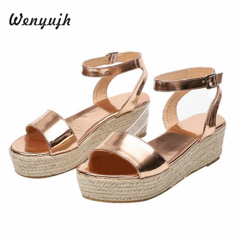WENYUJH  Platform Sandals 2019 Fashion Women Strap Sandal Wedges Shoes Casual Woman Peep Toe Espadrille Femme