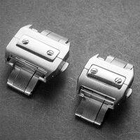 腕時計バックル316lステンレス鋼起毛蝶18/21ミリメートルつ折りバックルクラスプカルティエサントス100シリーズ+無料ツー