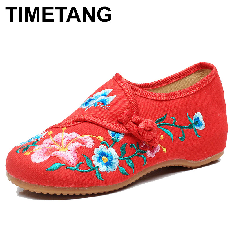 TIMETANG Handmade Morning Glory Embroidered Women Canvas Ballet Flats Retro Casual Comfort Cotton Fabric Flowers Woman ShoesE334 цена