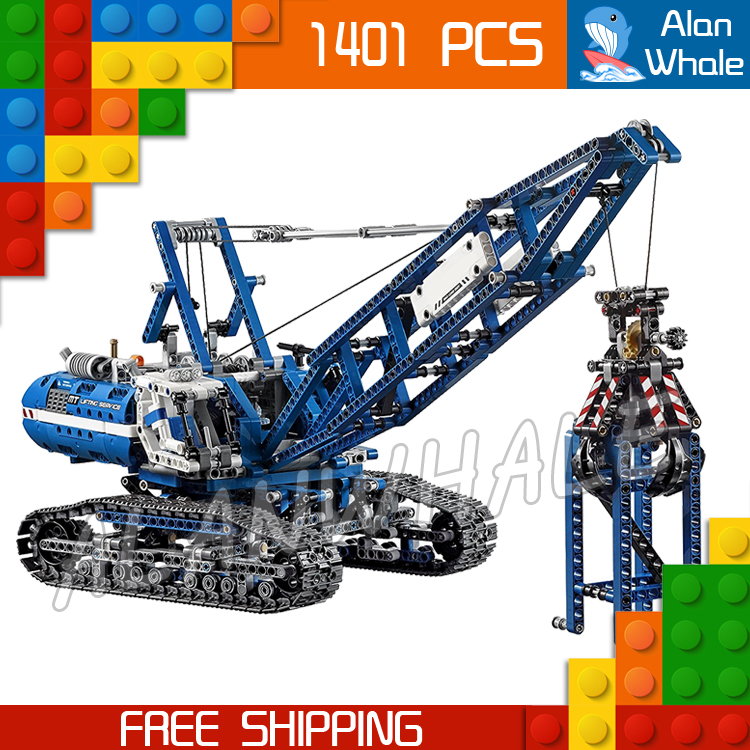 1401pcs Techinic 2in1 Motorized Crawler Crane 20010 DIY Model Building Kit Blocks Toy Classic Steel Vehicle Compatible With lego 1401pcs 2in1 techinic motorized crawler