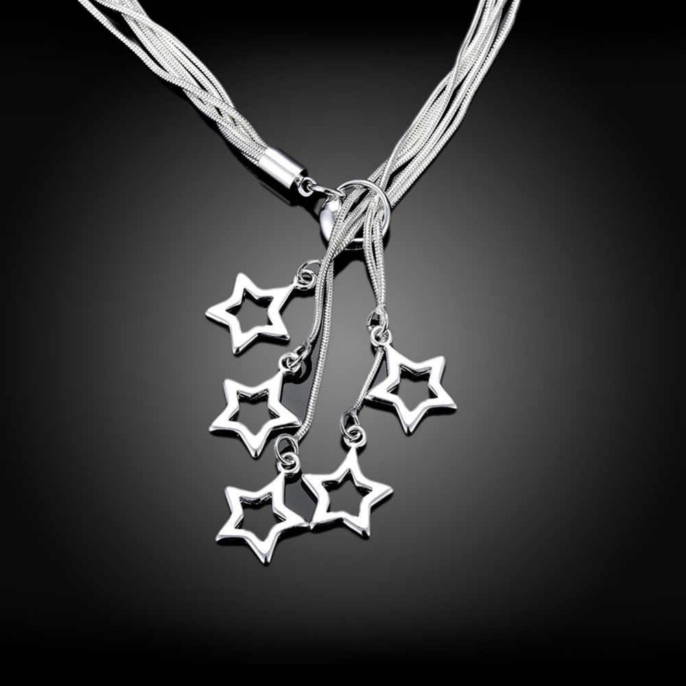 2019 нежный Collier Femme Argent милые многоярусная цепочка Серебрянное колье, чокер полые звезда Necklase Гавайский Jewelry SN044