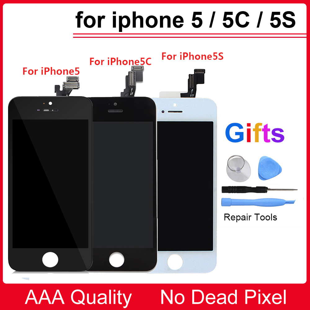 2018 100% New Black White Color LCD Display Touch Screen Replacement LCD For iPhone 5 5S ...